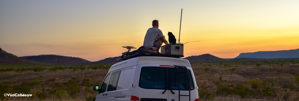 31b51a022fc37e Van Cat Meow Richard East provides tips. Rich and his cat Willow travel  around Australia in a van